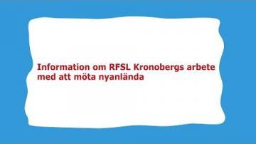 Rätt att veta! - Information om RFSL Kronobergs arbete med att möta nyanlända